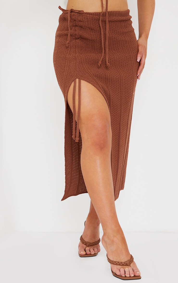 Rust Pointelle Tie Side Ruched Skirt 2