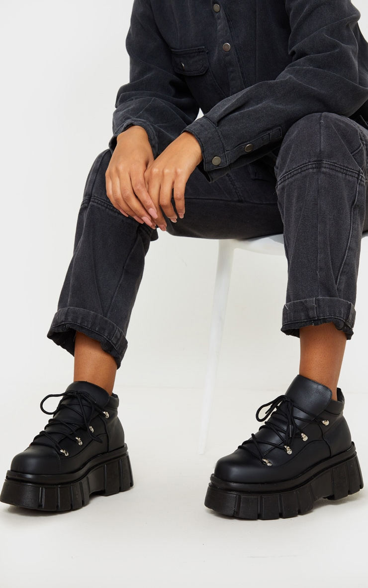 Black Extreme Flatform Chunky Sole Ankle Boot 1