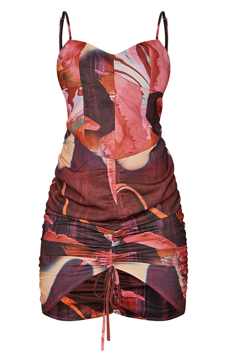 Pink Abstract Print Woven Strappy Ruched Bodycon Dress 5