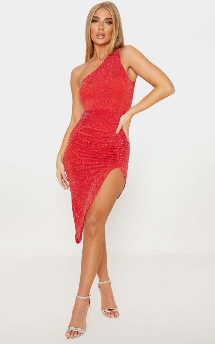 Red Textured Glitter One Shoulder Ruched Midi Dress 1