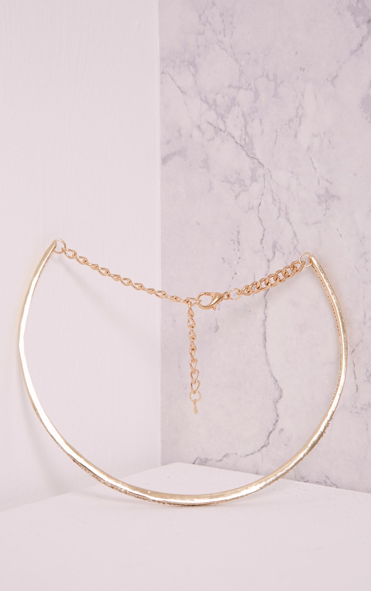 Jaimie Gold Diamante Metal Choker 4