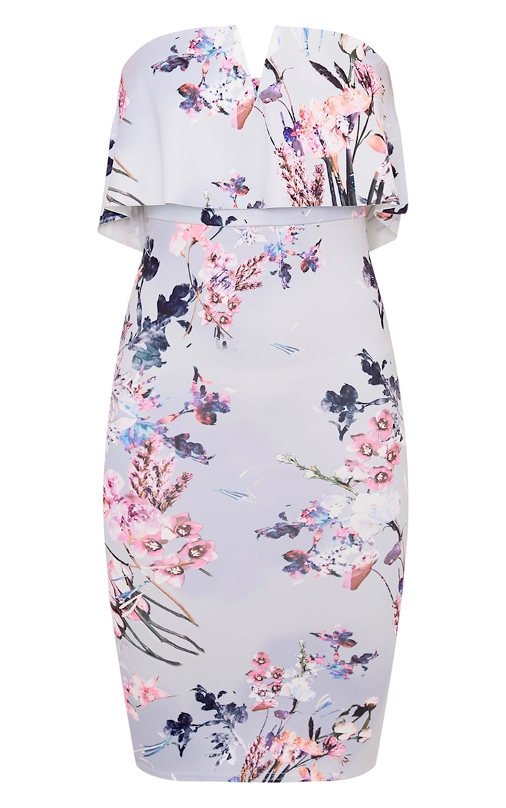 Norie Dusty Blue Floral Bandeau Midi Dress 3