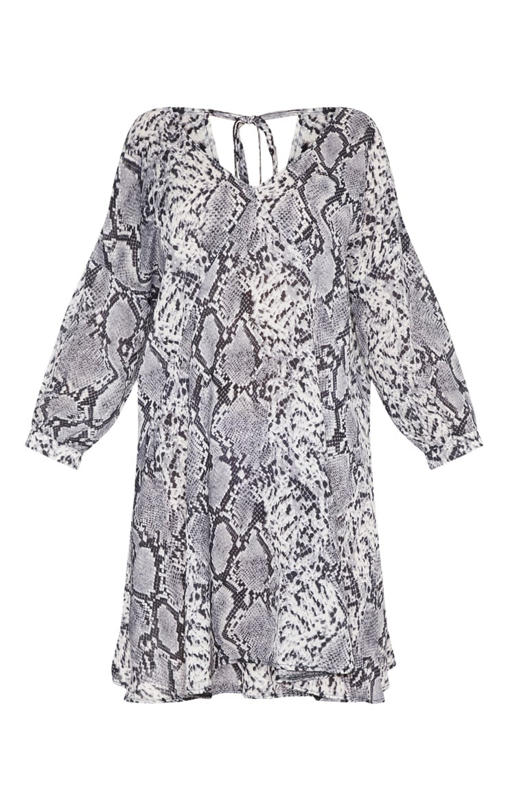 Plus Grey Snake Print Long Sleeve Shift Dress 3