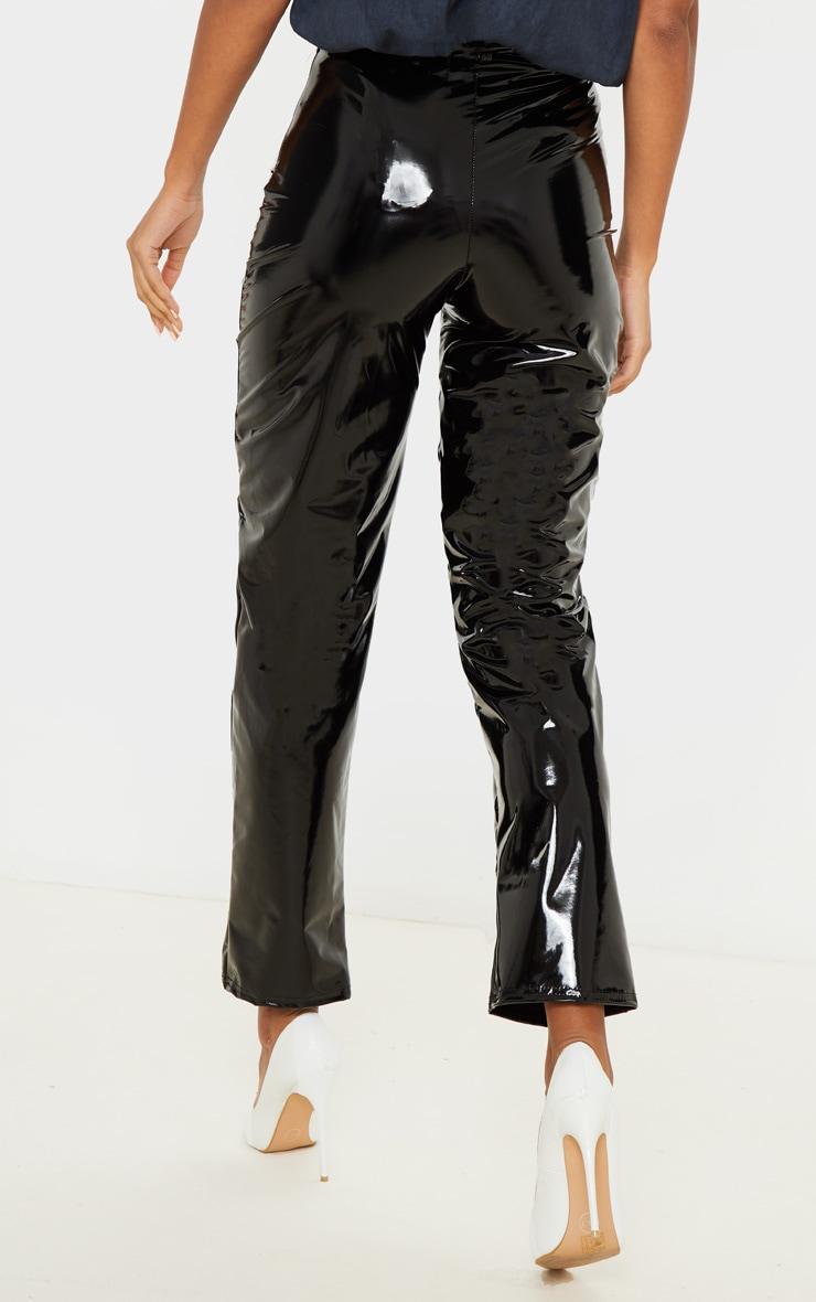 Black Vinyl Straight Leg Pants 4