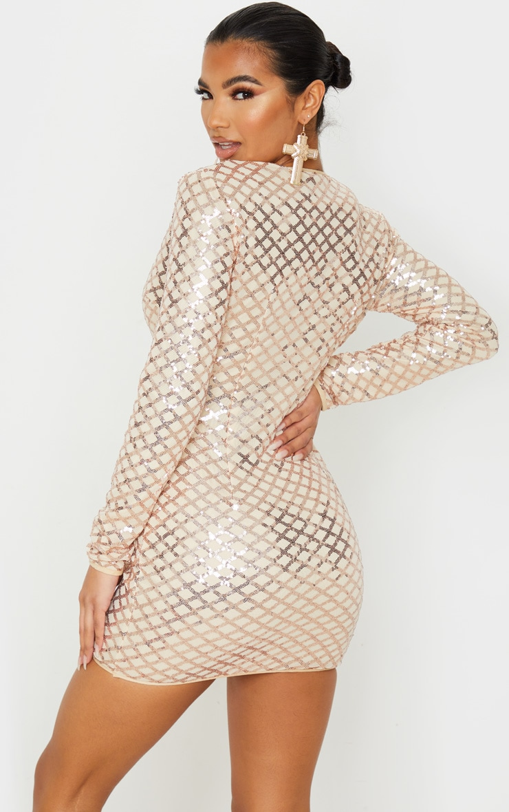 Rose Gold Patterned Sequin Long Sleeve Plunge Bodycon Dress 2