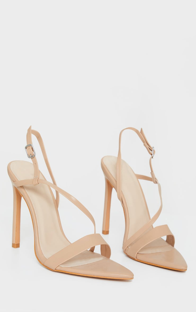 Nude Asymmetric Strap Point Toe Heeled Sandal 3