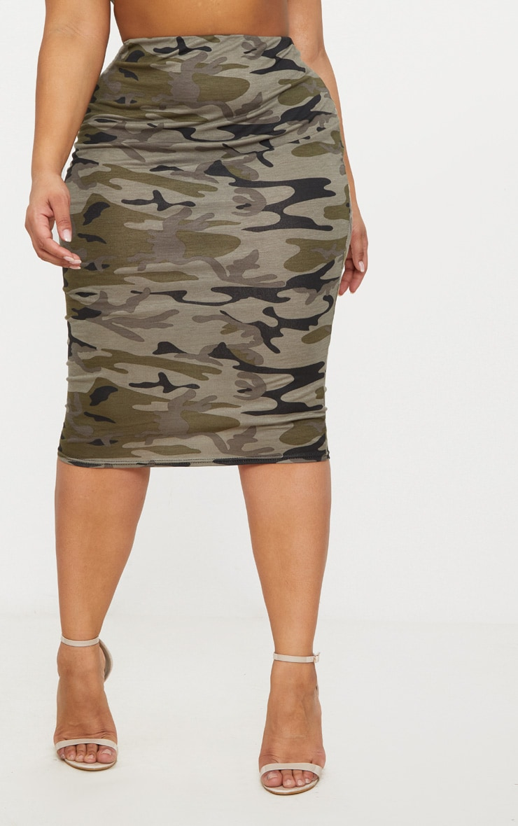 Plus Khaki Camo Print Midi Skirt 2