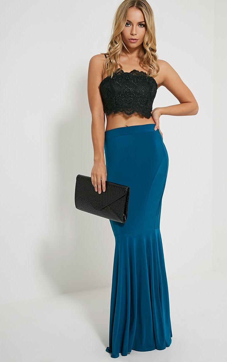 Silvie Teal Fish Tail Slinky Maxi Skirt 1