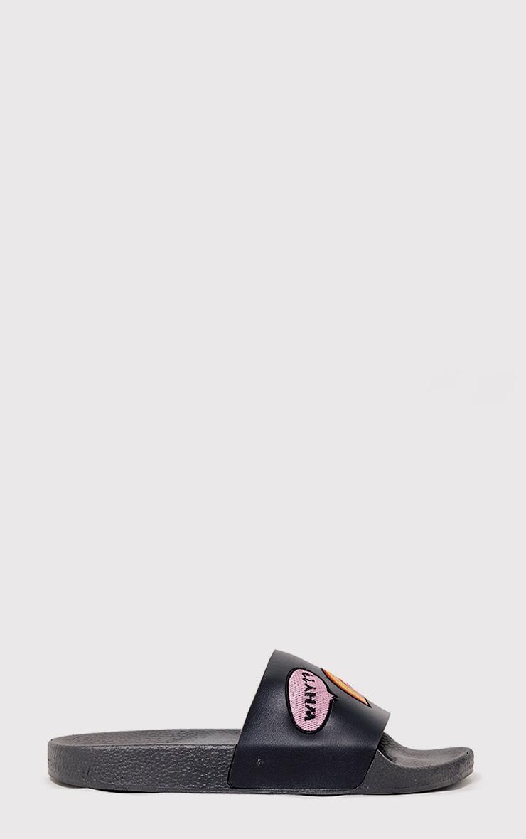 Cristina Black Applique Sliders 6