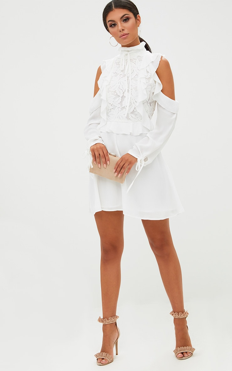 White Cold Shoulder Ruffle Detail Lace Shift Dress 4