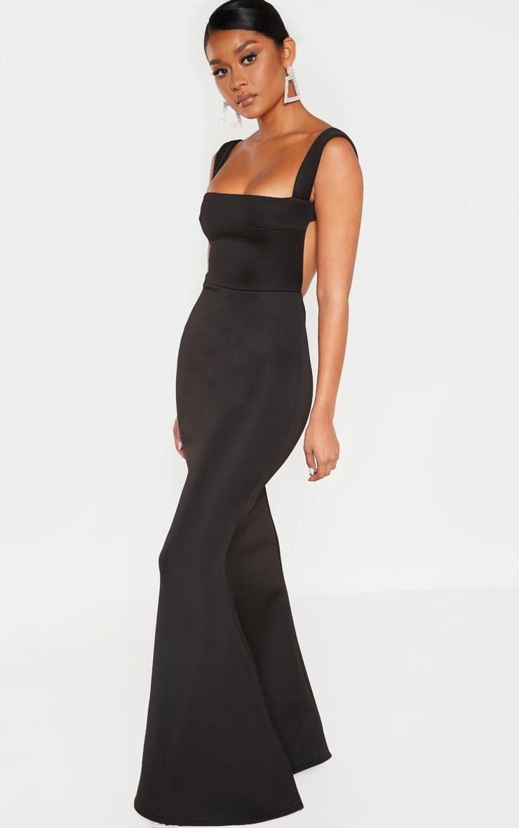Black Strappy Square Neck Maxi Dress 4