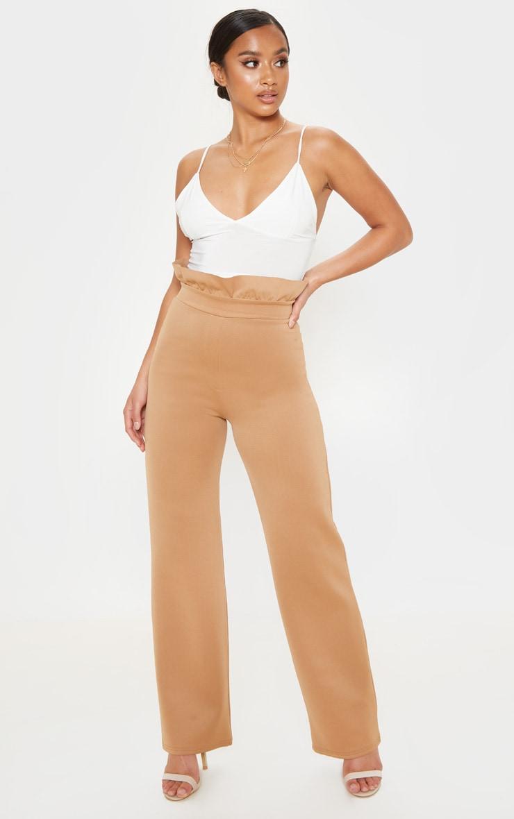 addfc9fe4d3 Petite Camel Paper Bag Waist Wide Leg Trouser image 1