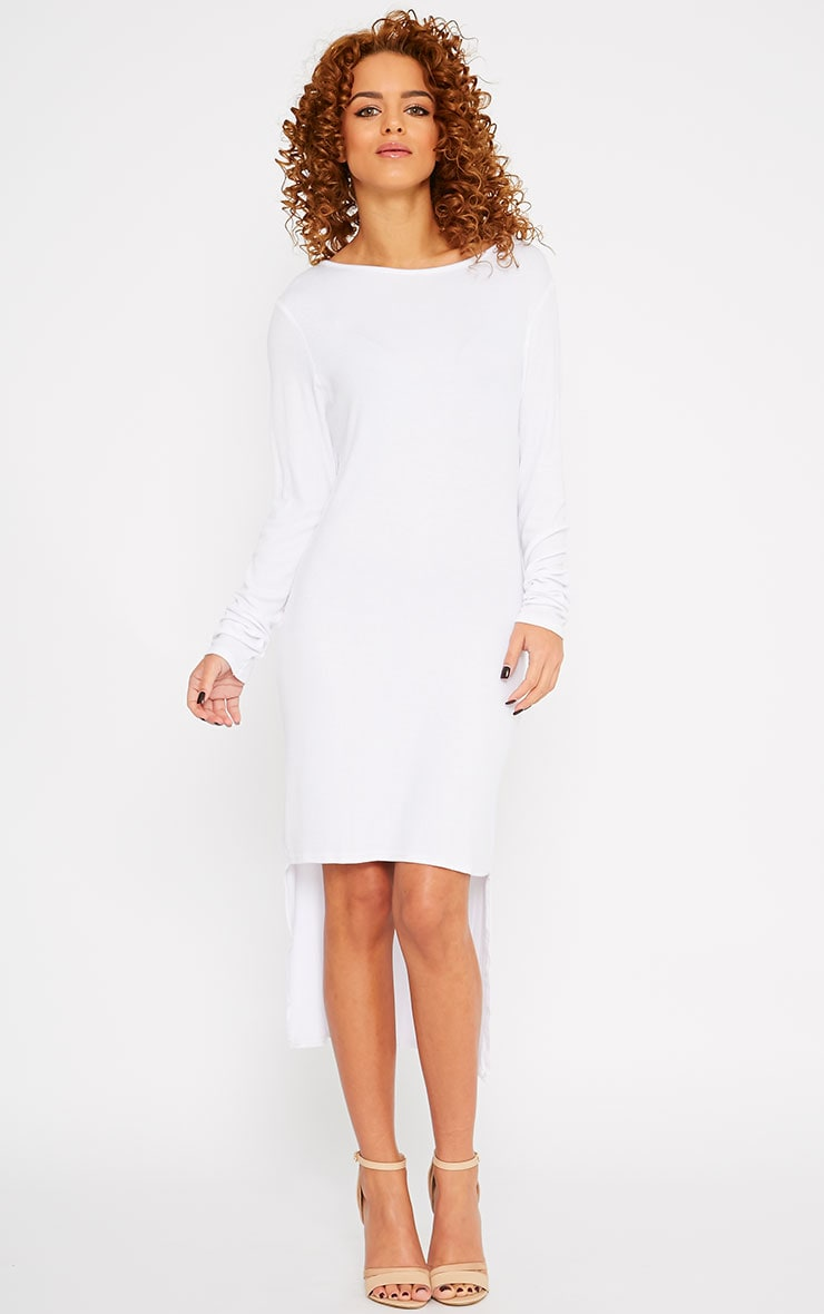 Basic White Drop Hem Dress 4