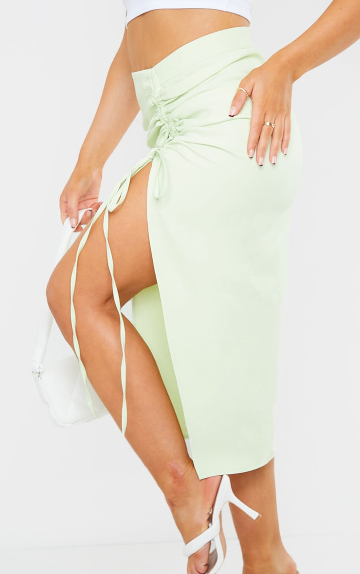 Pistachio Woven Ruched Detail Midi Skirt 4