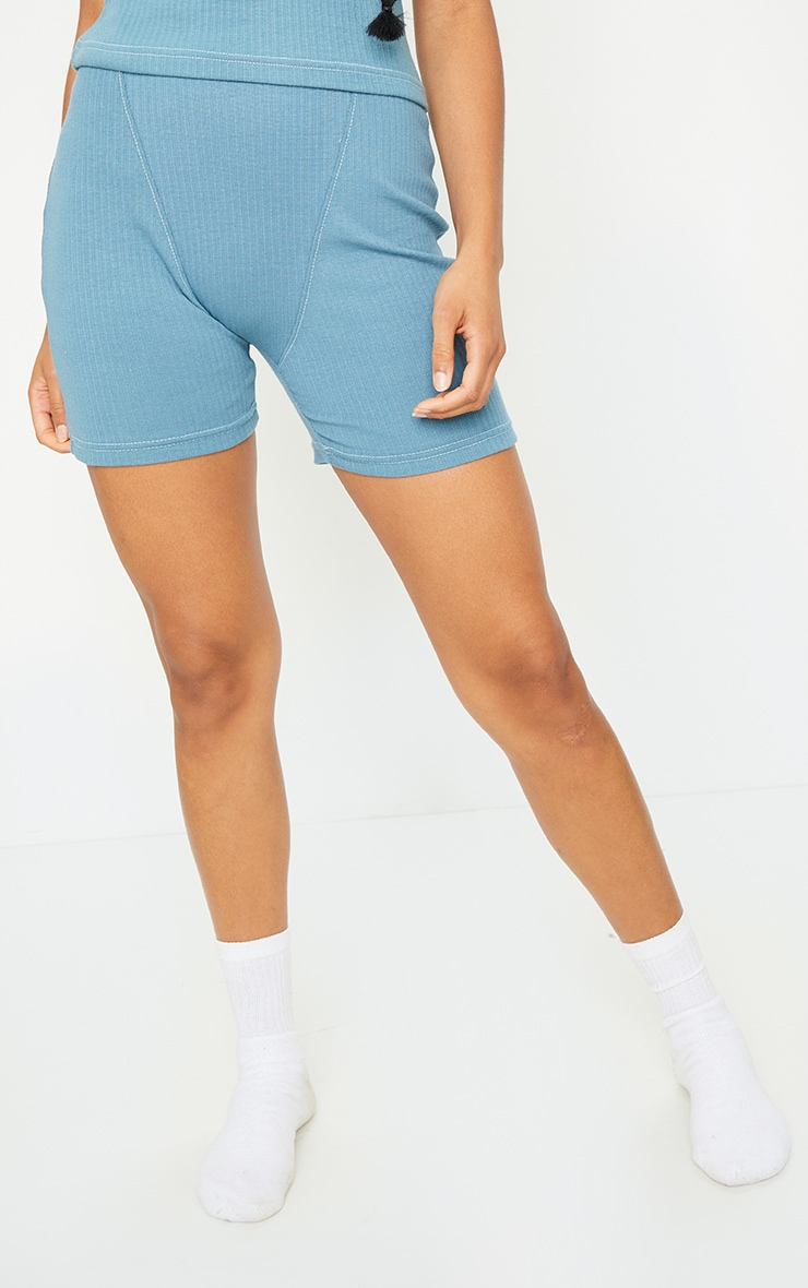 Petrol Blue Structured Rib Seam Detail Shorts 2