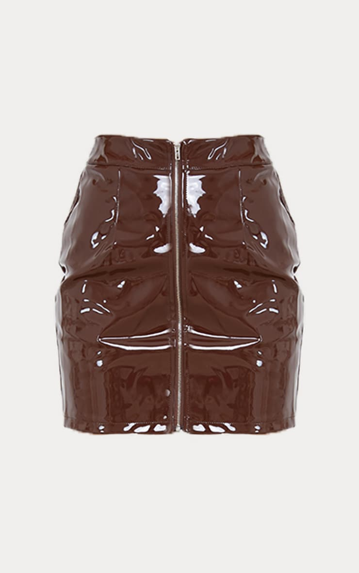 Chocolate Vinyl Mini Skirt 5