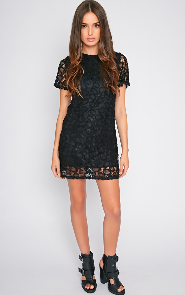 Kate Black Floral Lace Shift Dress 3