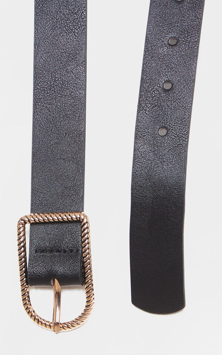 Black PU Twist Buckle Belt 2