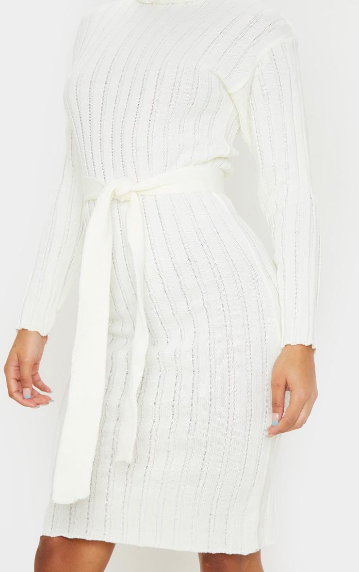 Cream Belted Rib Knit Midi Dress 4
