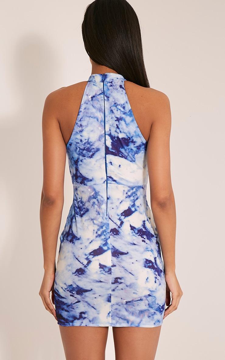 Jilliana Blue Marble Print Plunge Bodycon Dress 2