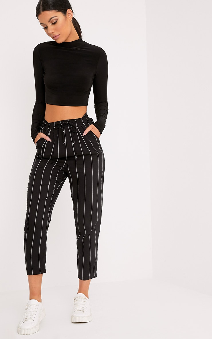 DIYA BLACK PIN STRIPE CASUAL TROUSERS