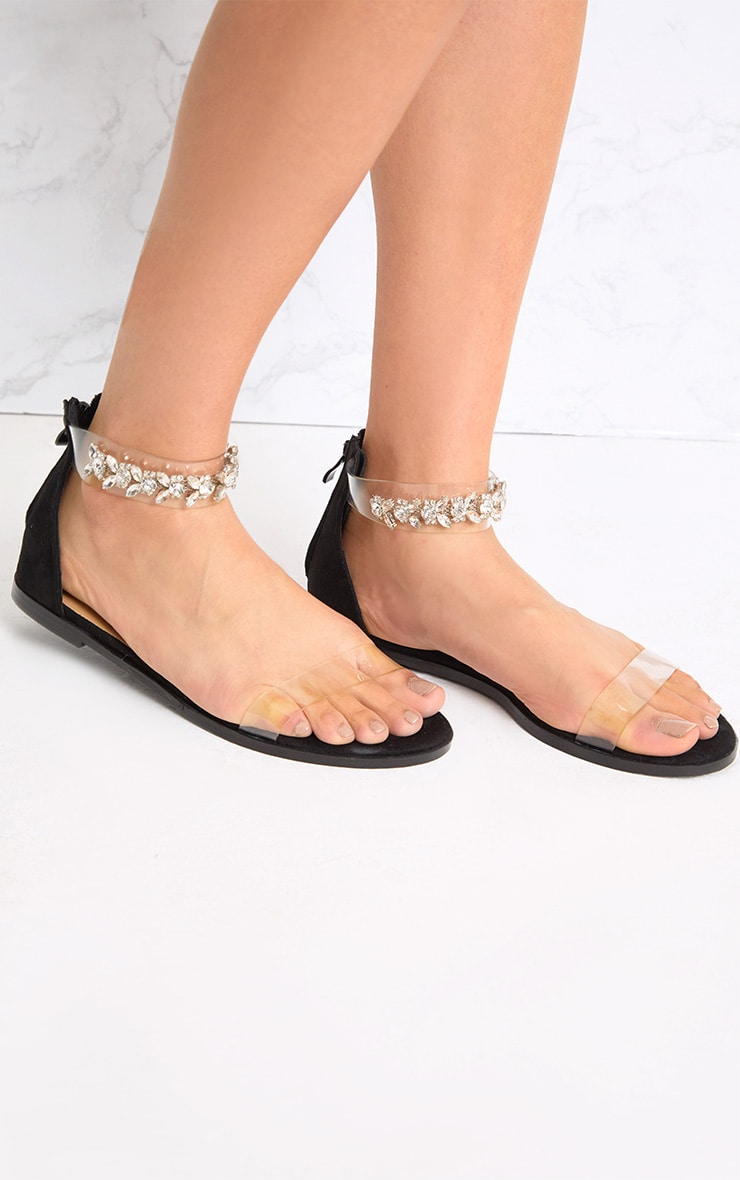 Nakita Black Jewelled Ankle Strap Sandals 2