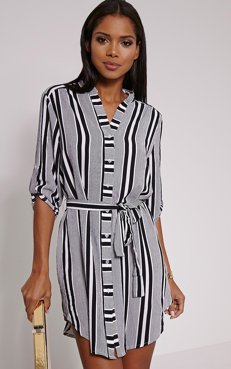 Demi Monochrome Stripe Belted Shirt Dress 1