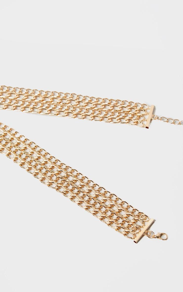 Gold Chunky 4 Row Chain Belt 3