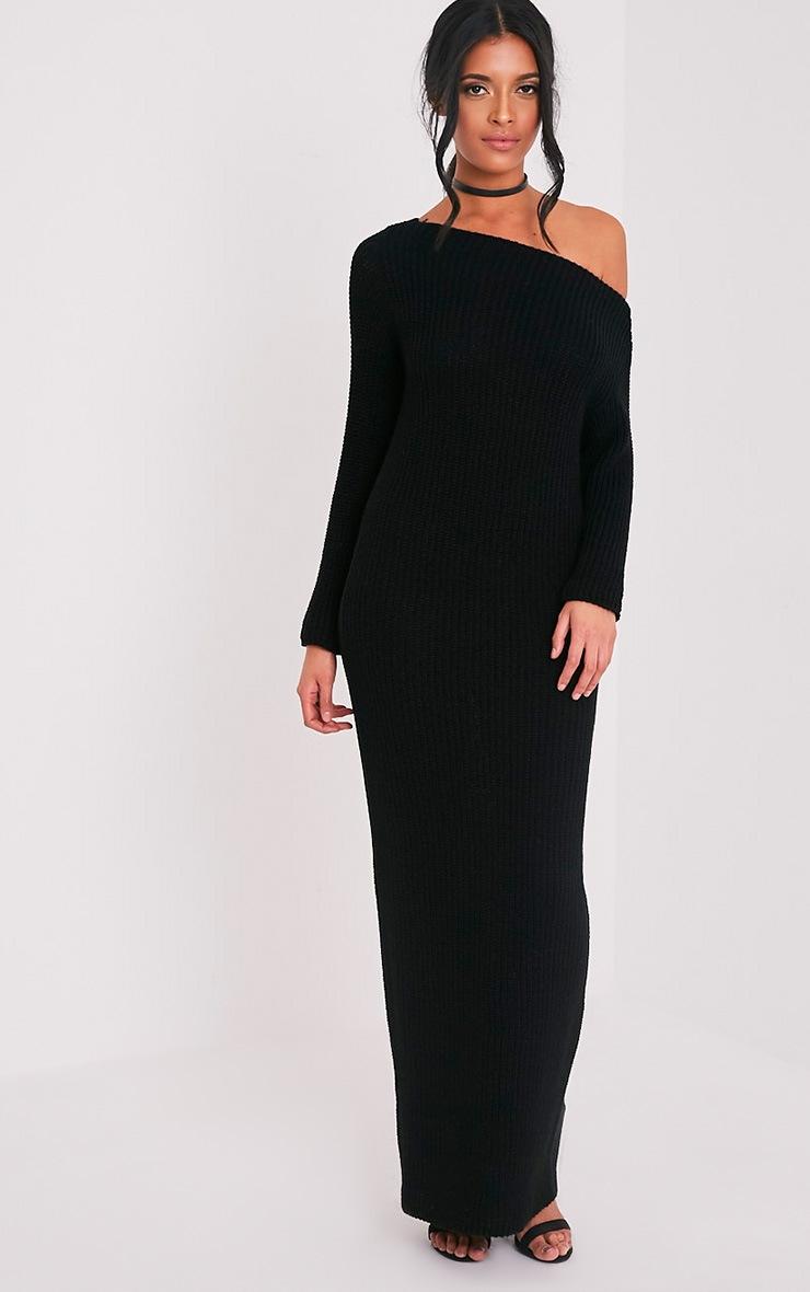 Adalynn robe pull maxi à épaules dénudées noire 4