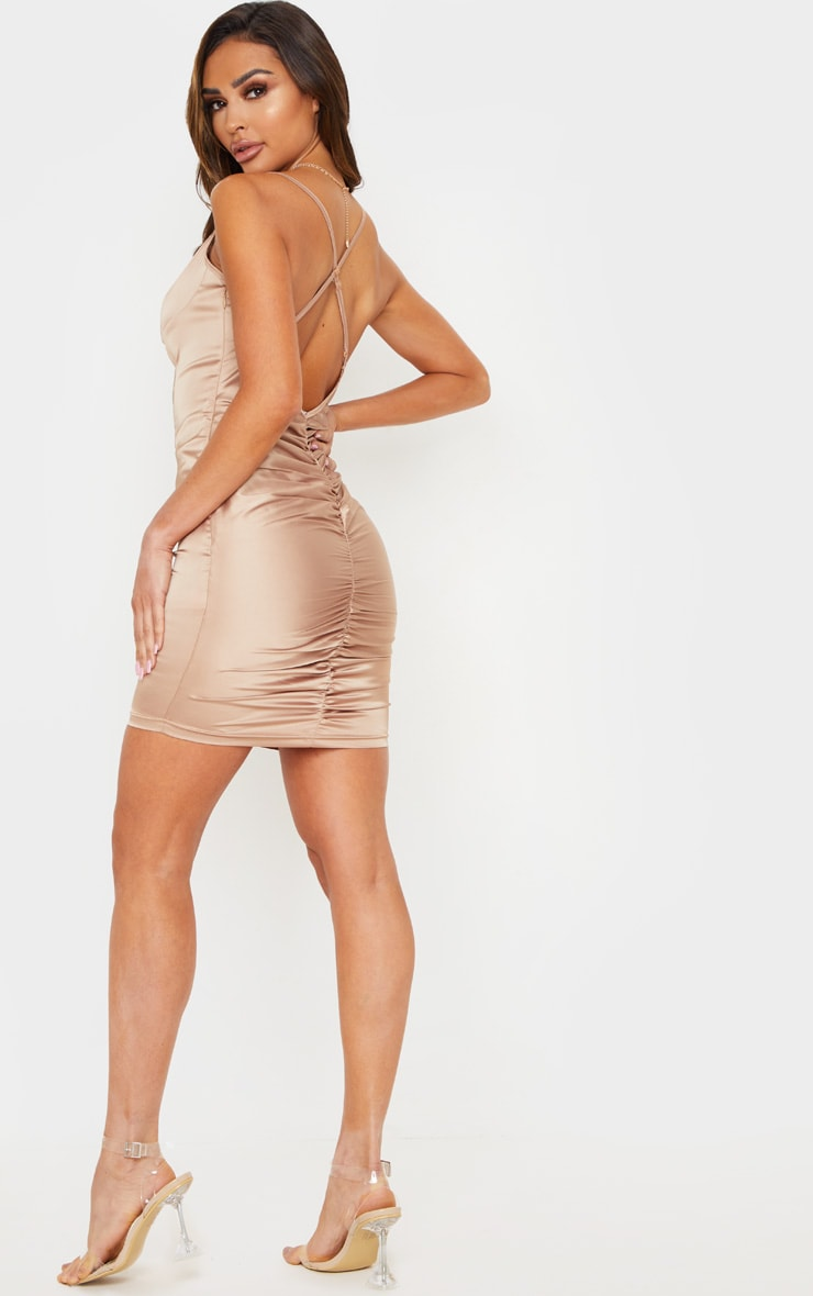 Nude Stretch Satin Cup Detail Bodycon Dress 4
