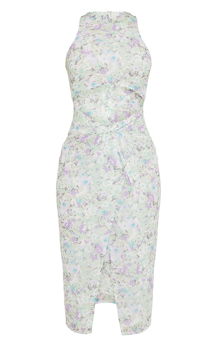 Cream Floral Print Cut Out Twist Detail Midi Dress 5
