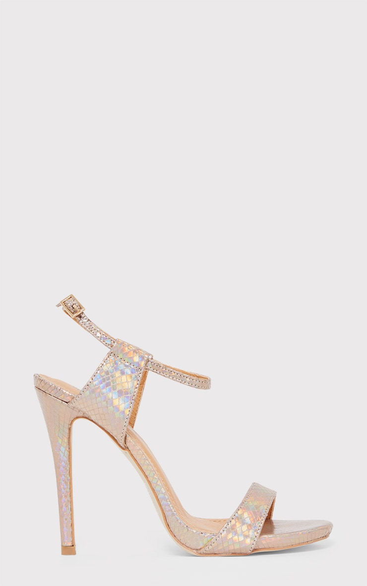 Lolah Gold Iridescent Snake Effect Strappy Sandals 1