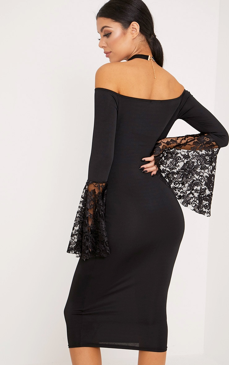 Tayler Black Bardot Lace Flared Sleeve Midi Dress 2