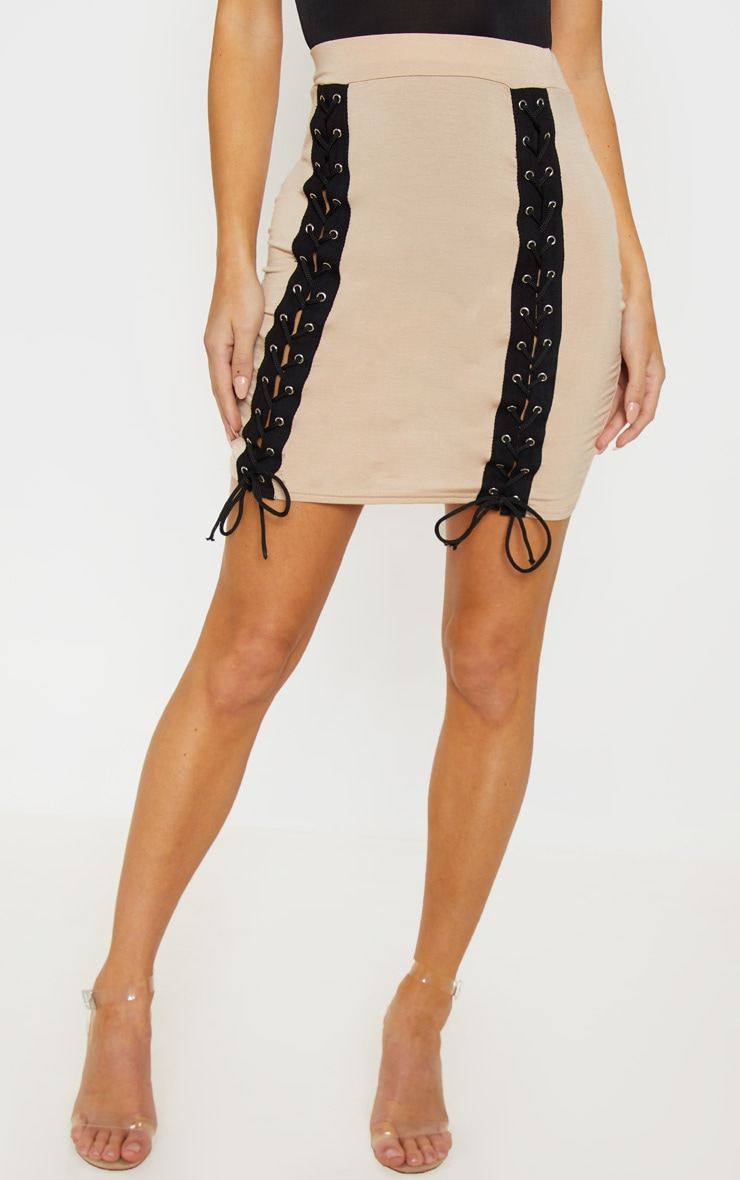 Stone Jersey Double Lace Up Detail Mini Skirt 2