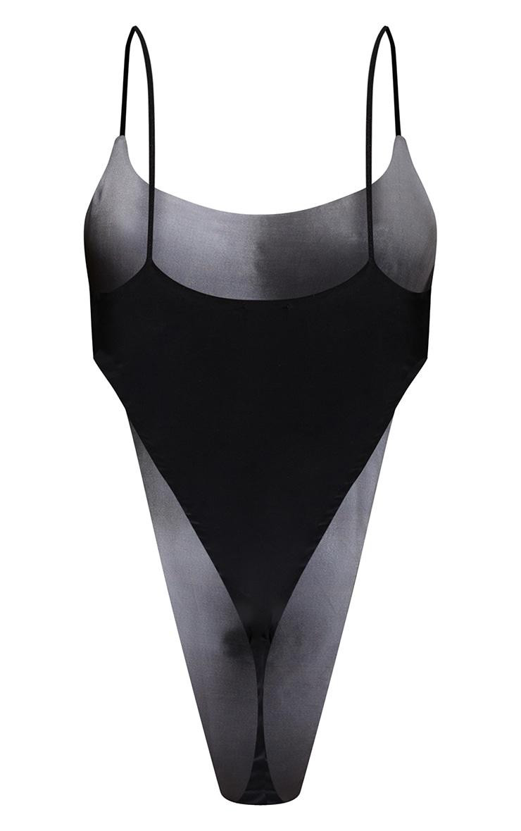 Grey 90s Body Print High Leg Bodysuit 7