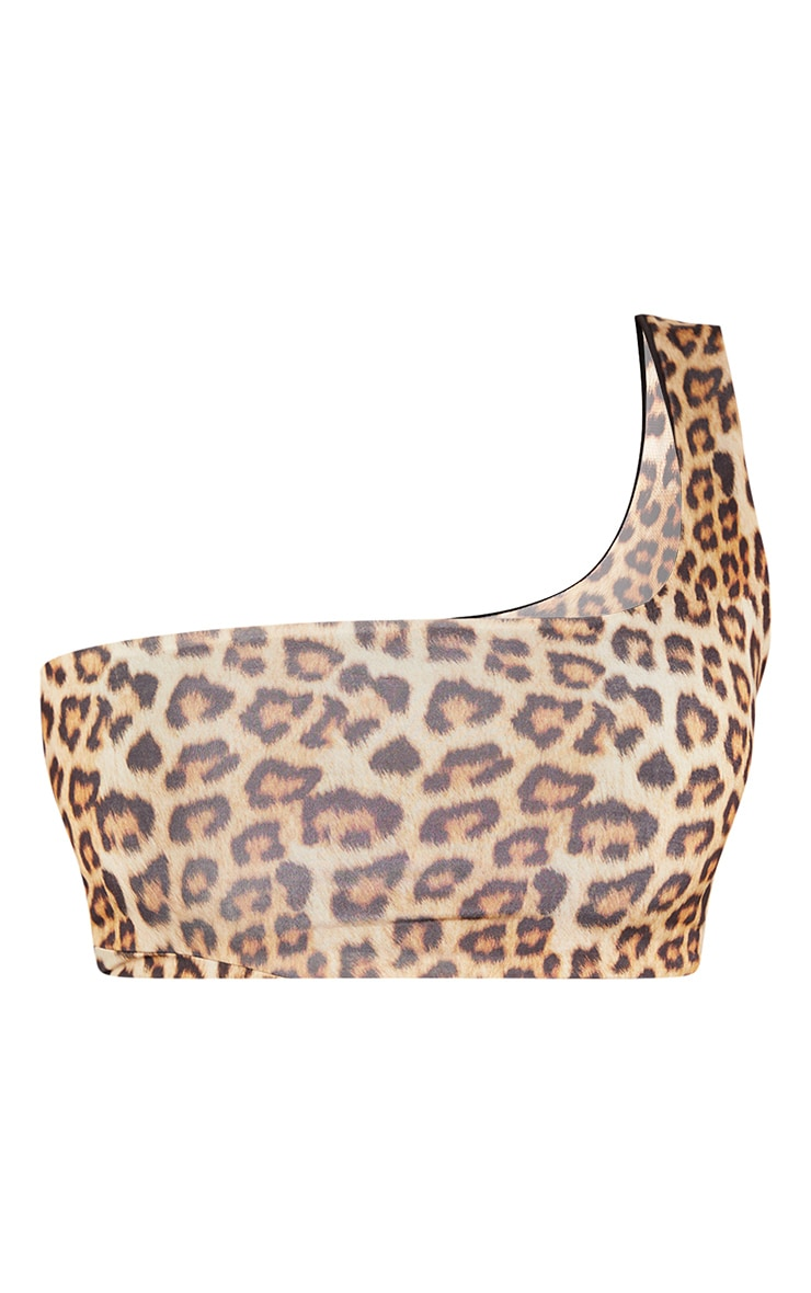 Tan Leopard Print One Shoulder Crop Top 3