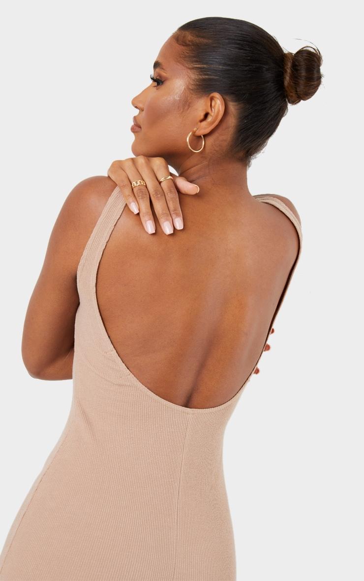 Stone Crinkle Rib Low Scoop Back Bodycon Dress 4