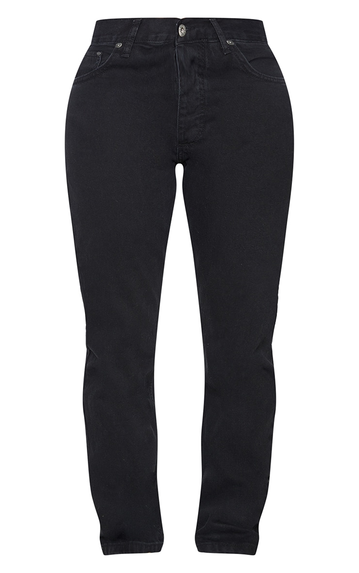 PRETTYLITTLETHING Shape Black V Front Waistband Straight Leg Jeans 5