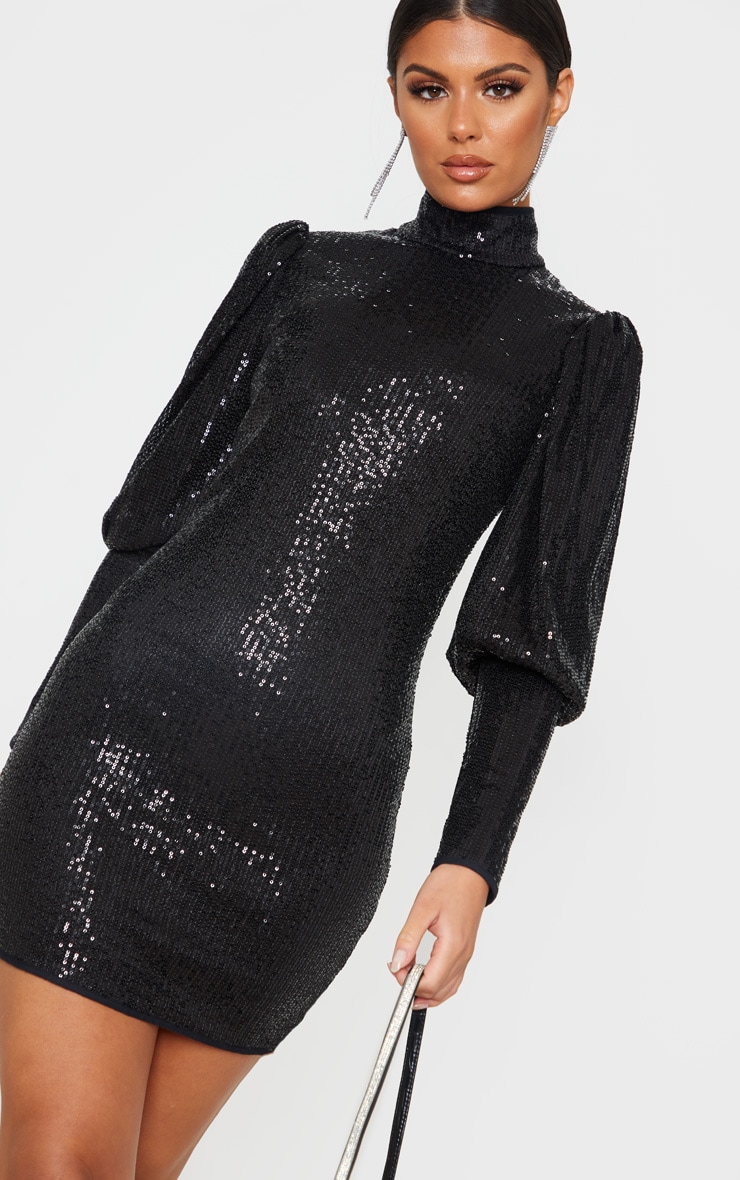 Black Sequin Puff Sleeve Bodycon Dress 5
