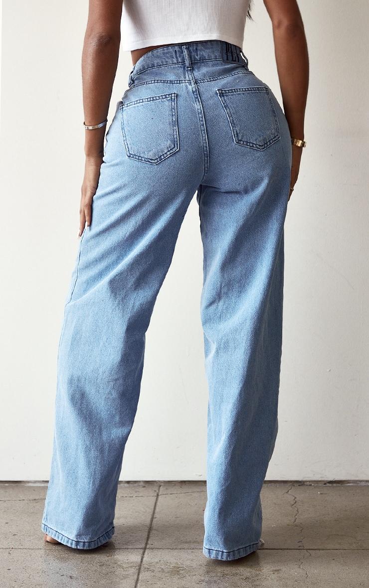 PRETTYLITTLETHING Shape Vintage Lace Up Side Wide Leg Jeans 3