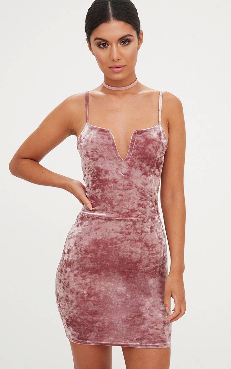 f5cb555b1042 Dusty Pink Crushed Velvet Strappy Plunge Bodycon Dress image 1