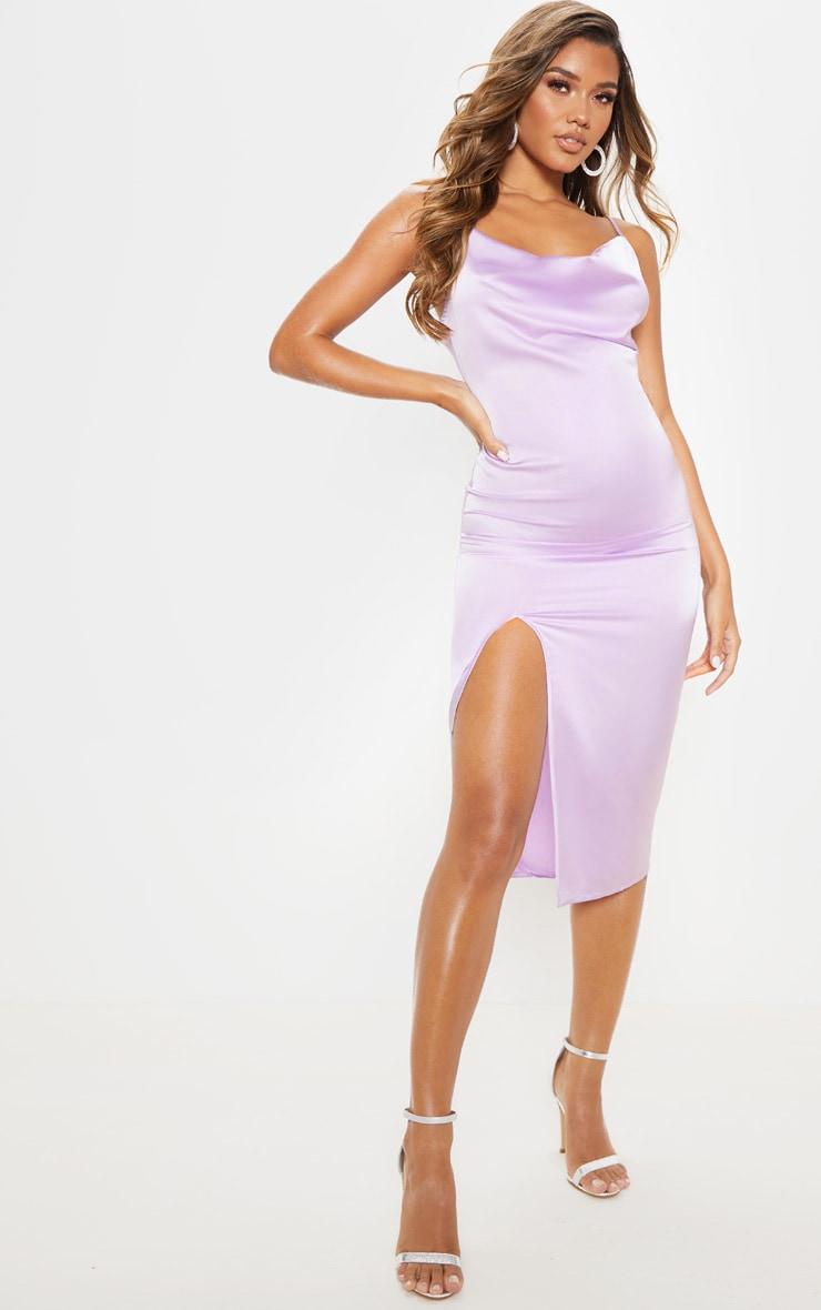 Lilac Strappy Satin Cowl Midi Dress 4