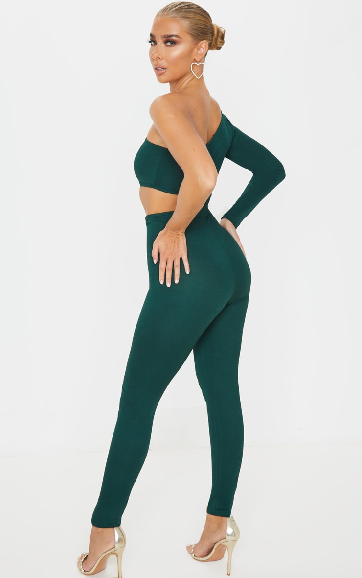 Emerald Green Long Sleeve Cut Out Jumpsuit 2