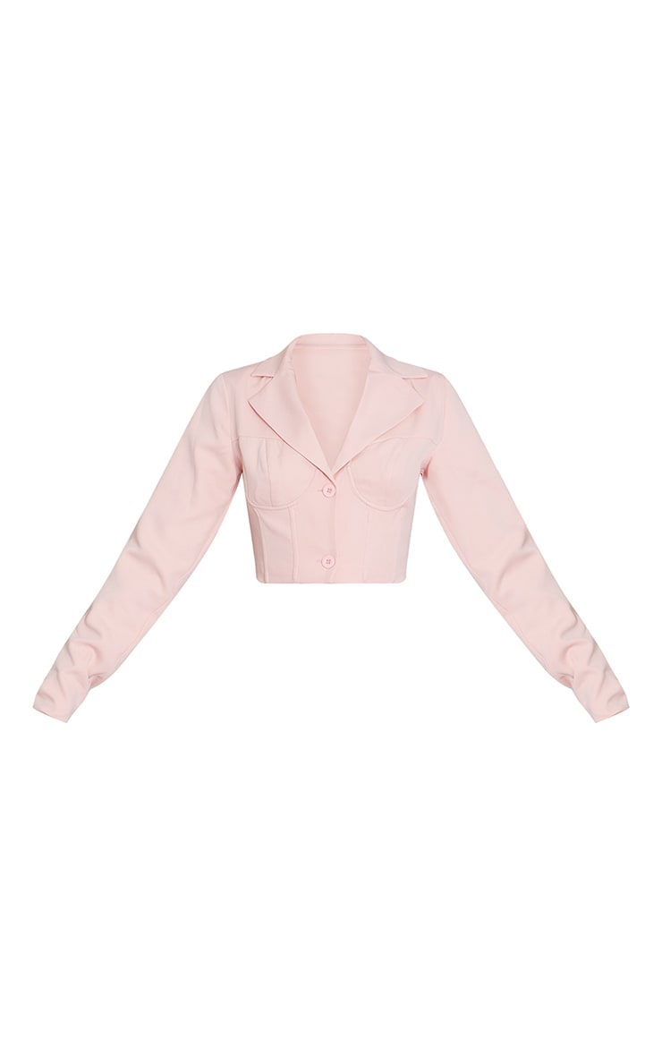 Pink Woven Cup Detail Corset Cropped Blazer 5