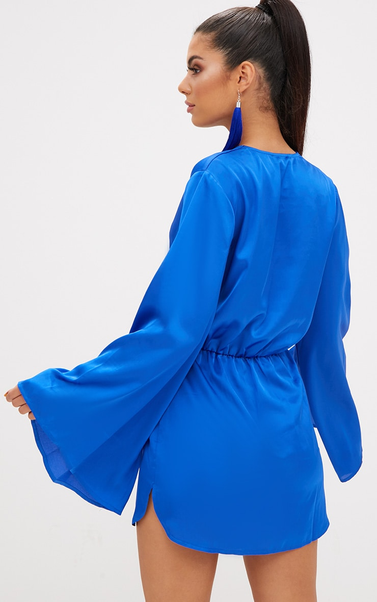 Cobalt Satin Kimono Sleeve Plunge Shift Dress 3