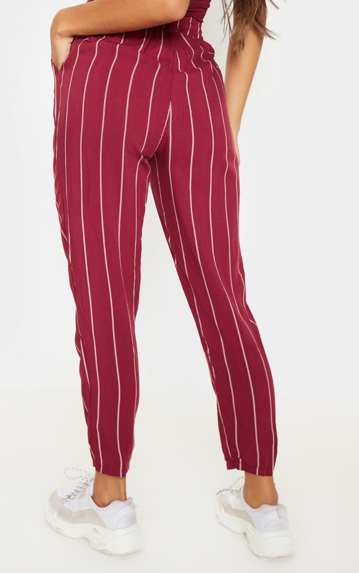 Burgundy Pinstripe Casual Pants 4