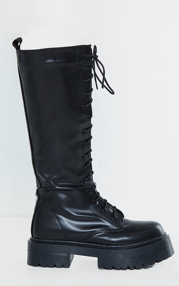 Black PU Patent Double Sole Knee High Lace Up Boots 4