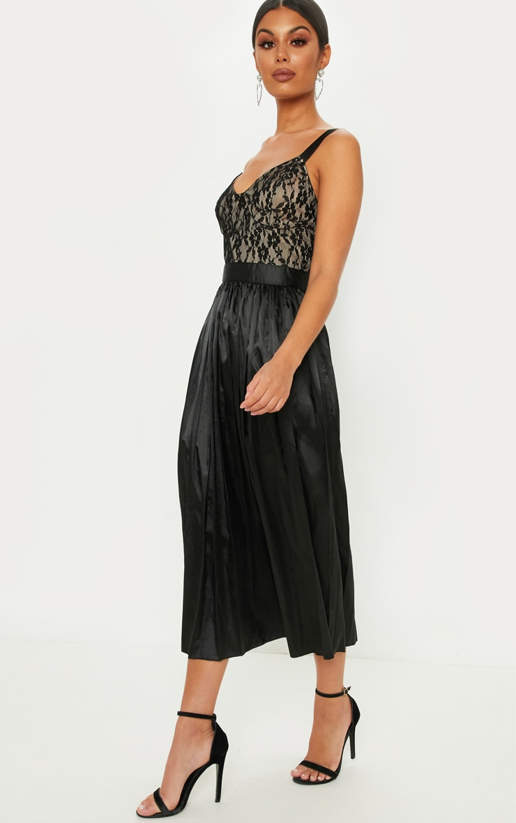 Black Lace Top Pleated Skirt Midi Dress 4