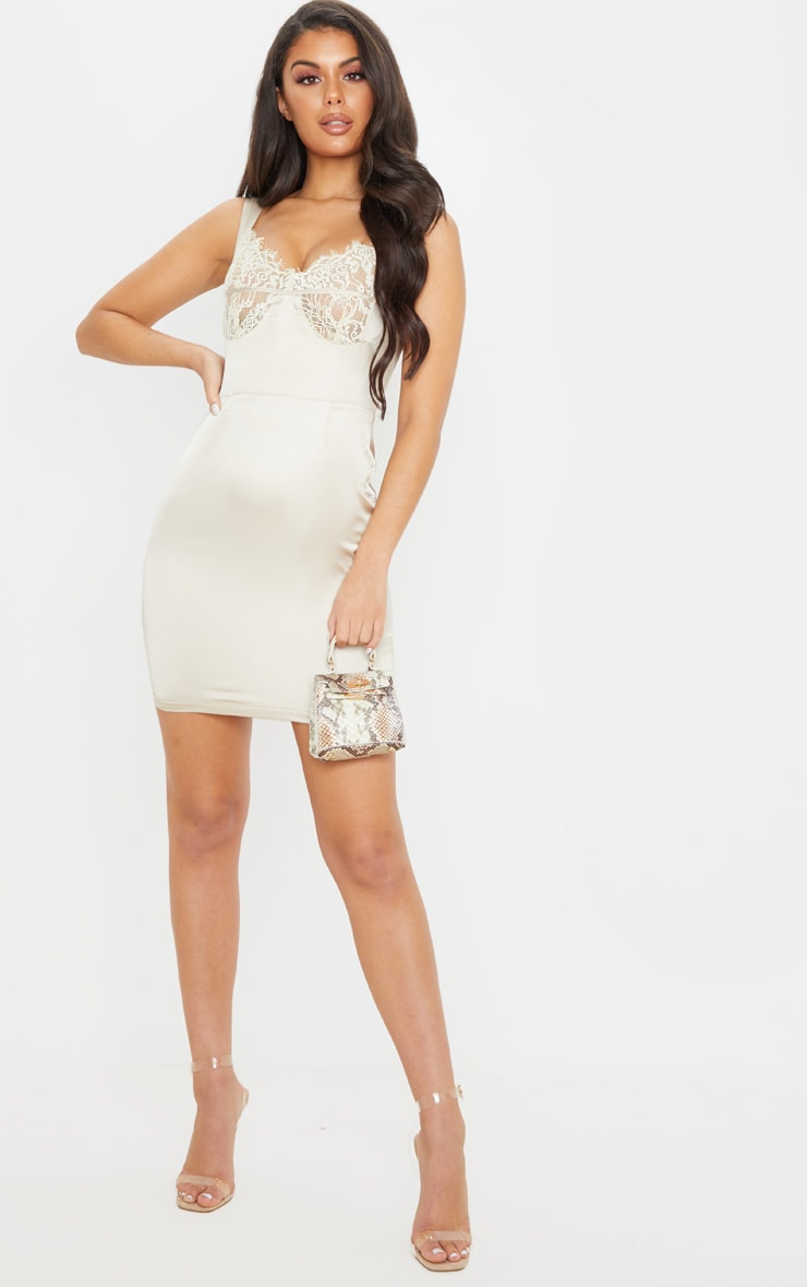 Nude Satin Lace Cup Sleeveless Bodycon Dress 4