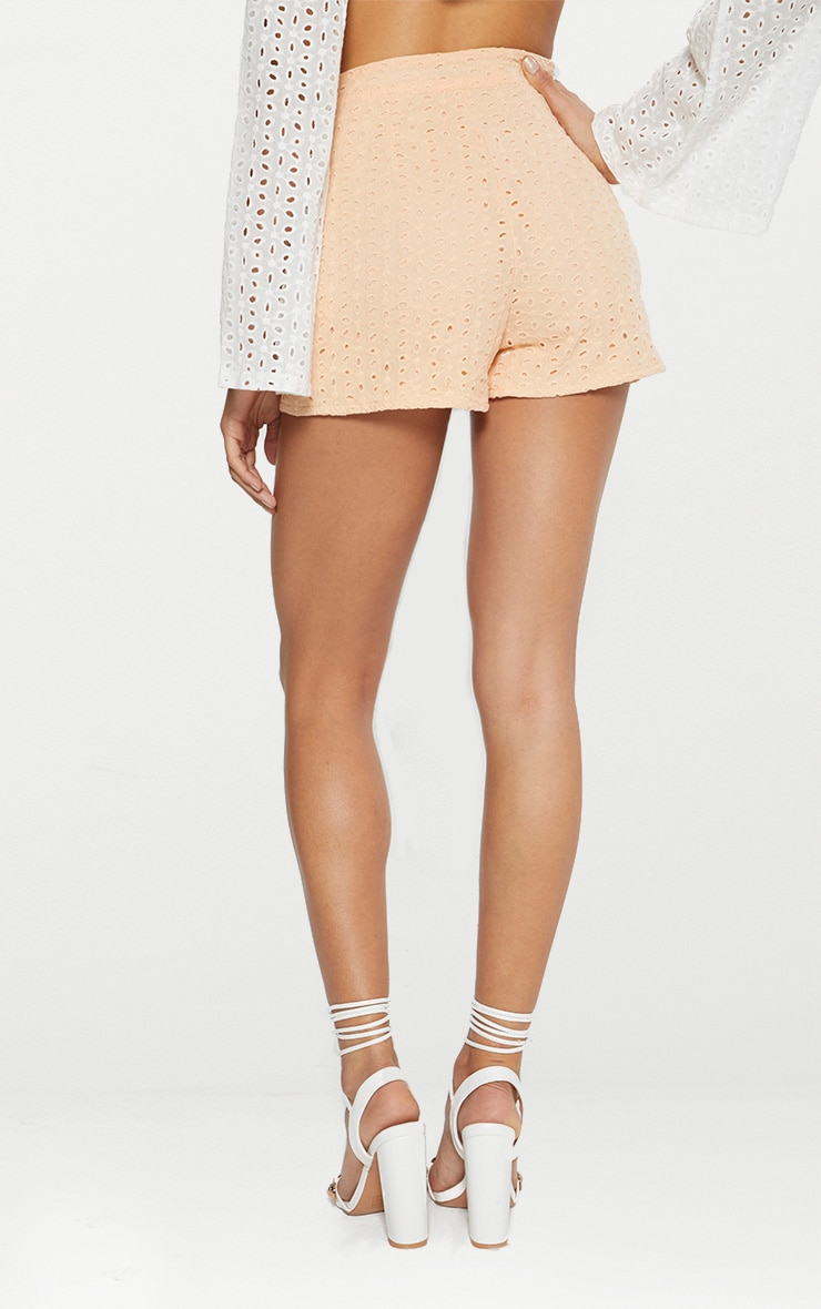 Peach Broderie Anglaise Shorts 4